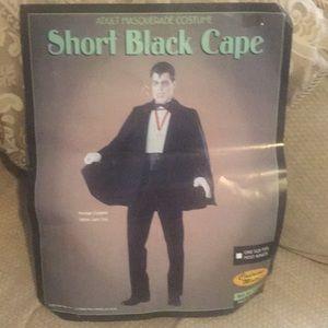 ♠️ EUC Masquerade Satin Short Black Cape - Unisex